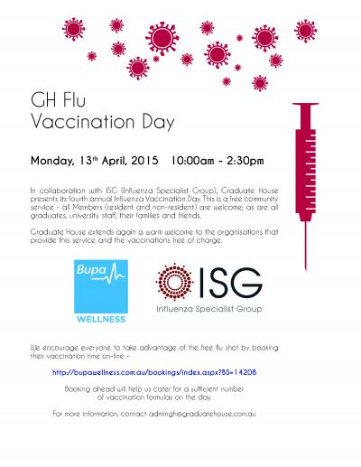 Free Influenza Vaccinations 13th April Monday